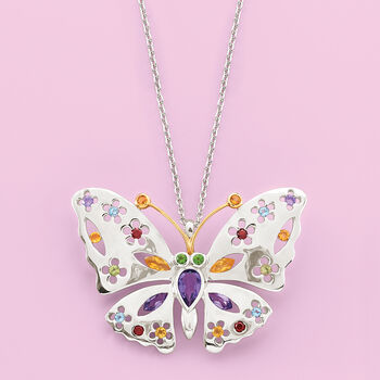 """2.50 ct. t.w. Multi-Stone Floral Butterfly Pin Pendant Necklace in Sterling Silver and 14kt Gold. 18"""""""