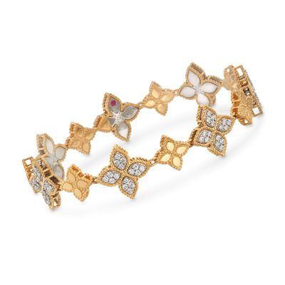 "Roberto Coin ""Princess"" 1.32 ct. t.w. Diamond Flower Bracelet in 18kt Two-Tone Gold, , default"