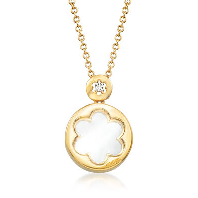 C. 2000 Vintage Giantti 18kt Yellow Gold Flower Pendant Necklace with Diamond Accent, , default