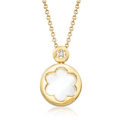 C. 2000 Vintage Giantti 18kt Yellow Gold Flower Pendant Necklace with Diamond Accent, , default