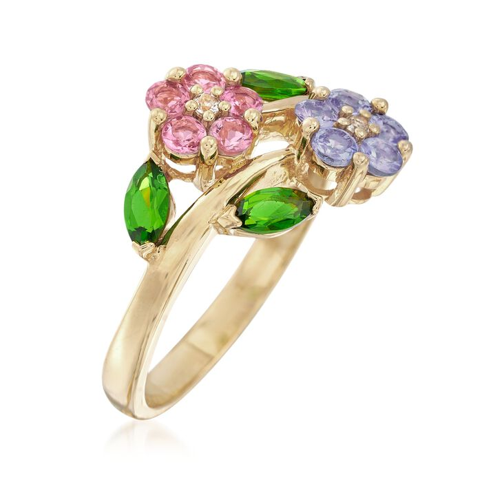 .93 ct. t.w. Multi-Gem Flower Ring in 18kt Gold Over Sterling