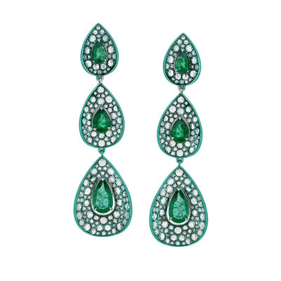 3.90 ct. t.w. Emerald and 3.75 ct. t.w. Diamond Drop Earrings in 18kt White Gold with Green Rhodium