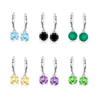19.00 ct. t.w. Multi-Gemstone Jewelry Set: Six Pairs of Drop Earrings in Sterling Silver