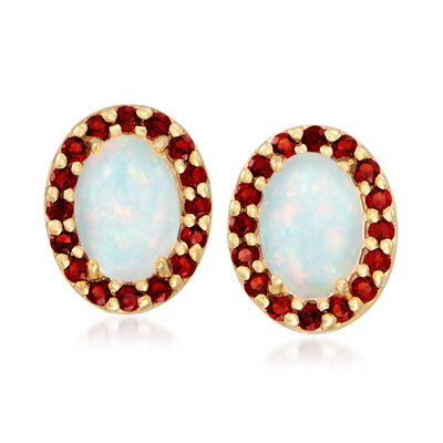 7x5mm Opal and .30 ct. t.w. Garnet Stud Earrings in 18kt Gold Over Sterling , , default