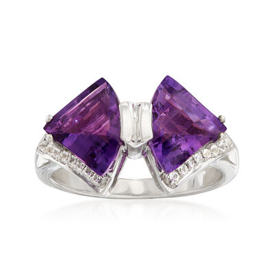 4.20 ct. t.w. Amethyst and .32 ct. t.w. White Topaz Bow Tie Ring in Sterling Silver