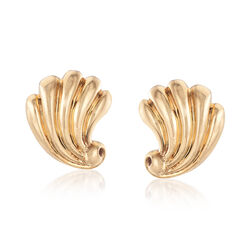 C. 1960 Vintage Tiffany Jewelry 14kt Yellow Gold Scallop Clip Earrings , , default