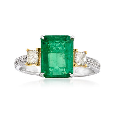 2.30 Carat Emerald and .45 ct. t.w. Yellow and White Diamond Ring in 18kt Two-Tone Gold