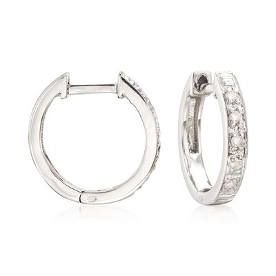 Diamond-Accented Huggie Hoop Earrings in Sterling Silver, , default