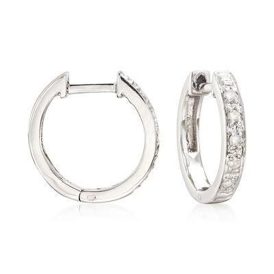 Diamond-Accented Huggie Hoop Earrings in Sterling Silver, , default