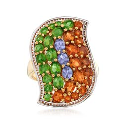 3.50 ct. t.w. Multi-Stone Curve Ring in 18kt Gold Over Sterling, , default