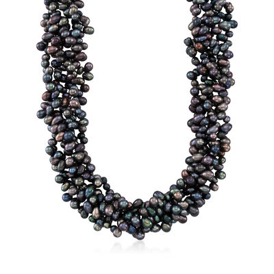 5-6mm Black Cultured Pearl Torsade Necklace with Sterling Silver, , default