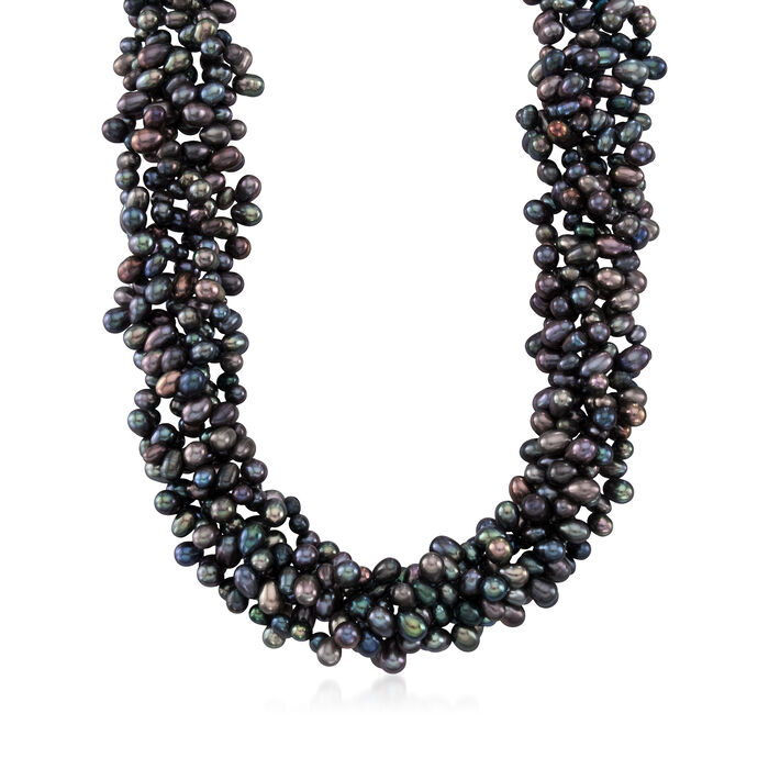 5-6mm Black Cultured Pearl Torsade Necklace with Sterling Silver