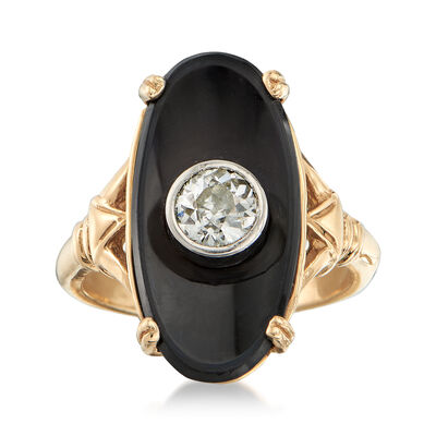 C. 1950 Vintage Oval Black Onyx and .50 Carat Diamond Ring in 14kt Yellow Gold , , default