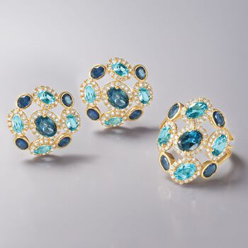 2.80 ct. t.w. Blue Topaz and 1.10 ct. t.w. Sapphire Ring With .58 ct. t.w. Diamonds in 14kt Yellow Gold, , default