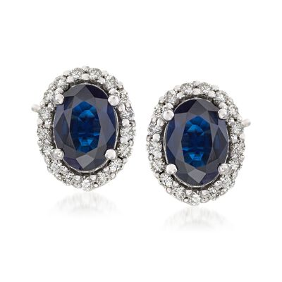 1.60 ct. t.w. Sapphire and .34 ct. t.w. Diamond Frame Earrings in 14kt White Gold, , default