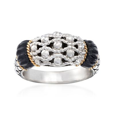 "Andrea Candela ""La Corona"" Black Onyx Ring in 18kt Yellow Gold and Sterling Silver, , default"