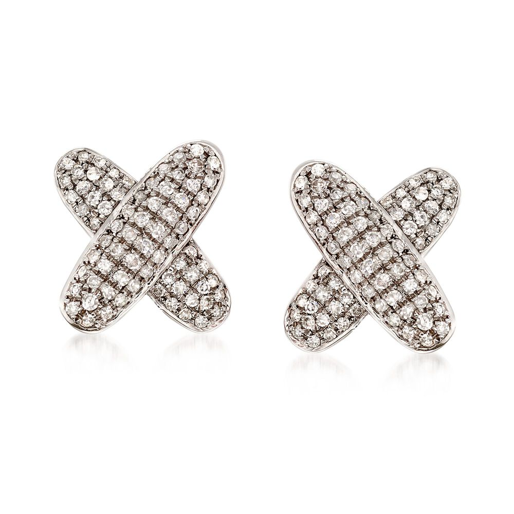 T W Pave Diamond X Earrings In 14kt White Gold Default