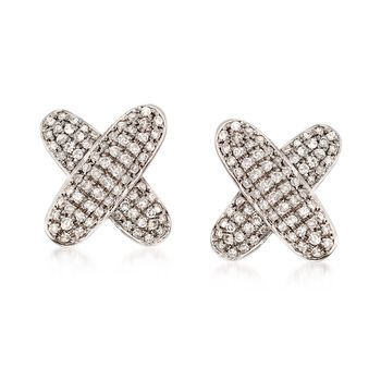 .45 ct. t.w. Pave Diamond X Earrings in 14kt White Gold, , default