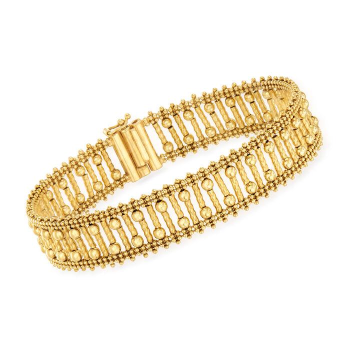 "C. 1980 Vintage 14kt Yellow Gold Beaded Bracelet. 7.25"""