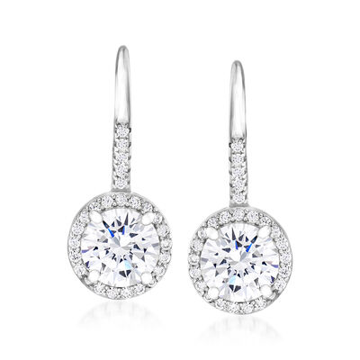2.80 ct. t.w. CZ Drop Earrings in Sterling Silver
