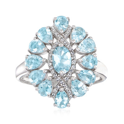 1.60 ct. t.w. Aquamarine Ring with White Topaz Accents in Sterling Silver