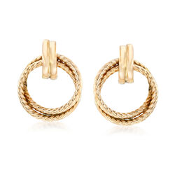 14kt Yellow Gold Twisted Double Open Circle Drop Earrings, , default