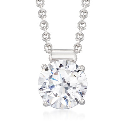 1.25 Carat CZ Solitaire Necklace in Sterling Silver, , default