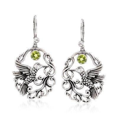 .90 ct. t.w. Peridot Openwork Hummingbird Earrings in Sterling Silver, , default