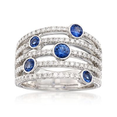 .70 ct. t.w. Bezel-Set Sapphire and .88 ct. t.w. Multi-Band Ring in 14kt White Gold, , default