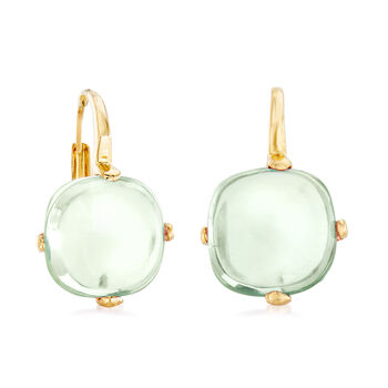 Italian 4.50 ct. t.w. Prasiolite Drop Earrings in 14kt Yellow Gold