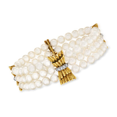 C. 1970 Vintage Cultured Pearl and .28 ct. t.w. Diamond Multi-Strand Bracelet in 18kt Yellow Gold, , default