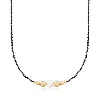 9.5-10mm Cultured Pearl and 18.00 ct. t.w. Black Spinel Bead Necklace in 14kt Yellow Gold, , default