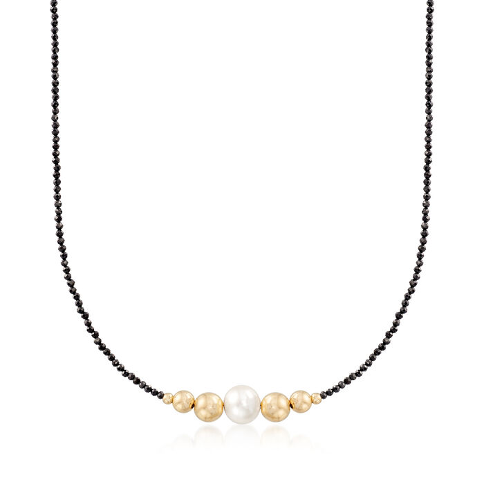 9.5-10mm Cultured Pearl and 18.00 ct. t.w. Black Spinel Bead Necklace in 14kt Yellow Gold