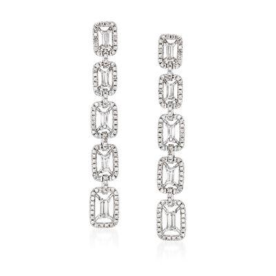 1.02 ct. t.w. Diamond Linear-Link Drop Earrings in 18kt White Gold, , default
