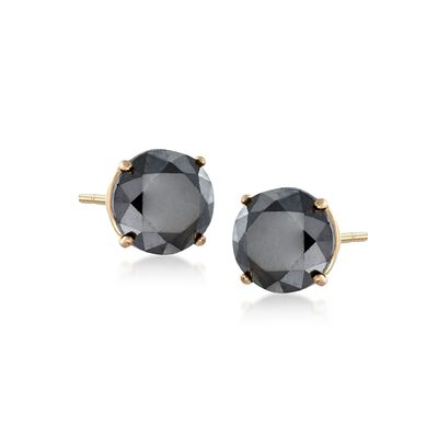 2.00 ct. t.w. Black Diamond Stud Earrings in 14kt Yellow Gold, , default