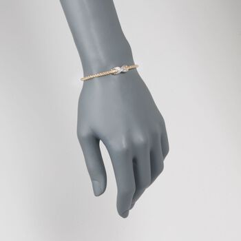 "Charles Garnier ""Infinity"" .50 ct. t.w. CZ Bolo Bracelet in Two-Tone Sterling Silver. 7"", , default"