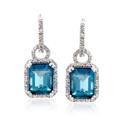 7.00 ct. t.w. London Blue Topaz Hoop Drop Earrings with Diamonds in Sterling Silver, , default