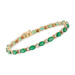7.50 ct. t.w. Emerald and .23 ct. t.w. Diamond Station Bracelet in 14kt Yellow Gold, , default