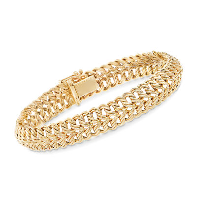 14kt Yellow Gold Double-Row Rope Link Bracelet, , default