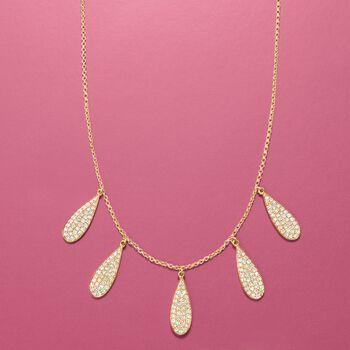 ".70 ct. t.w. Diamond Teardrop Bib Necklace in 14kt Yellow Gold. 20"", , default"