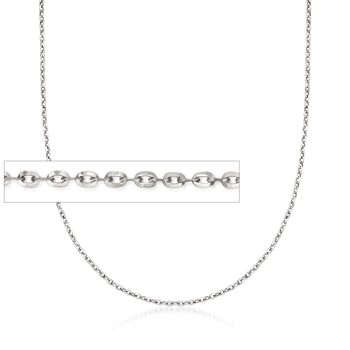 Italian .8mm 14kt White Gold Adjustable Slider Cable Chain Necklace , , default