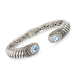 "6.50 ct. t.w. Blue Topaz Balinese Cuff Bracelet in Sterling Silver and 18kt Gold. 7.5"", , default"