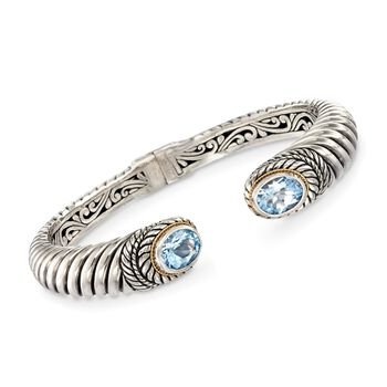 """6.50 ct. t.w. Blue Topaz Balinese Cuff Bracelet in Sterling Silver and 18kt Gold. 7.5"""", , default"""