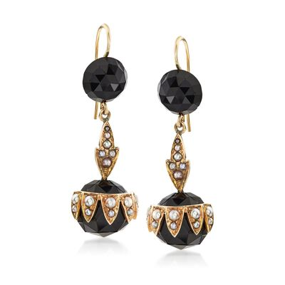 C. 1900 Vintage Black Onyx Bead and Cultured Pearl Earrings in 14kt Yellow Gold, , default