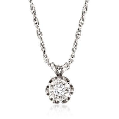 C. 1970 Vintage .15 Carat Diamond Solitaire Pendant Necklace in 14kt White Gold, , default