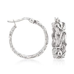 "14kt White Gold Flat Byzantine Hoop Earrings. 3/4"", , default"