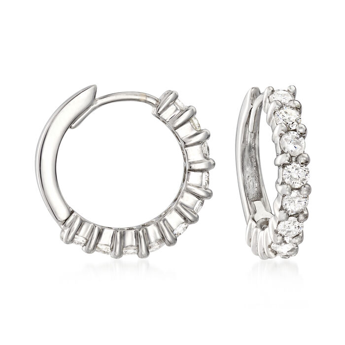 "1.00 ct. t.w. Diamond Hoop Earrings in 14kt White Gold. 5/8"", , default"
