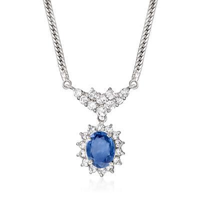 C. 1980 Vintage 2.04 Carat Sapphire and 1.05 ct. t.w. Diamond Necklace in Platinum