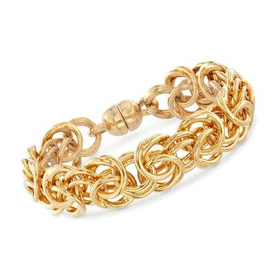 Italian Andiamo 14kt Yellow Gold Large Byzantine Bracelet, , default