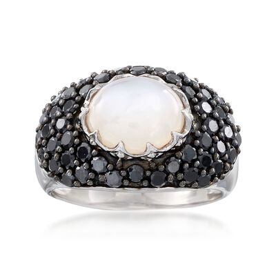 Moonstone and 2.10 ct. t.w. Black Spinel Ring in Sterling Silver, , default